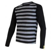 Pánské funkční triko Sensor Merino Wool Active dl.r. černé pruhy