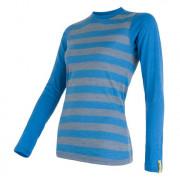 Dámské triko Sensor Merino Wool Active dl.r. modré pruhy