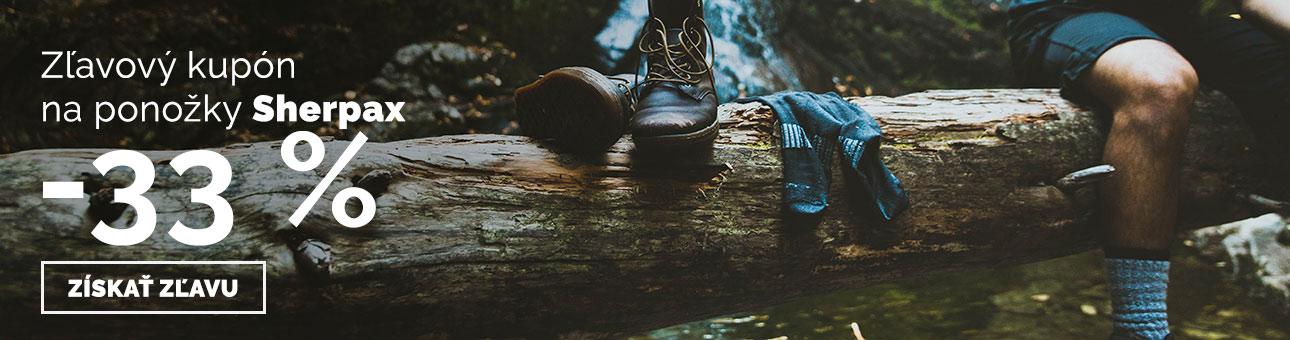 ZĽAVOVÝ KUPÓN -33 % na ponožky SHERPAX